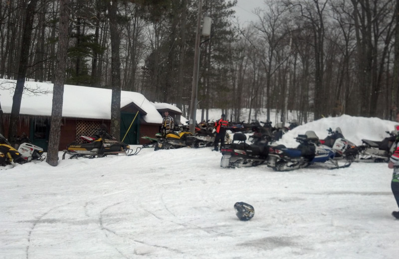 Snowmobiling at Pitlik's Sand Beach Resort.