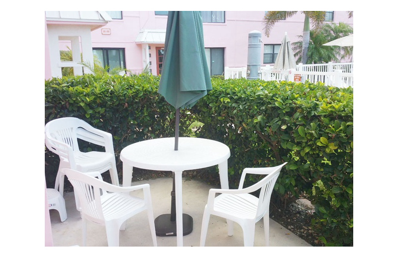 Guest patio at Gulf Winds Resort Condominiums.