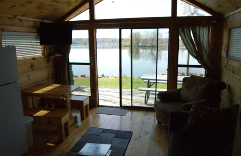 Cabin living room at Edinboro Lake Resort.
