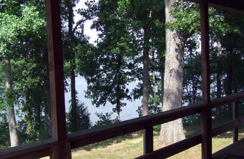 View from cabin at Buzzard Rock Resort and Marina.