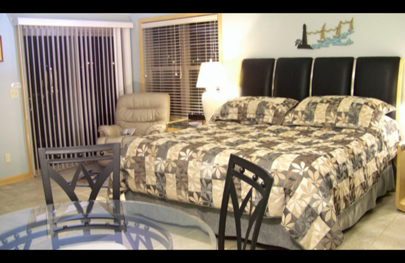 Suite bedroom at The Lighthouse Lodge.