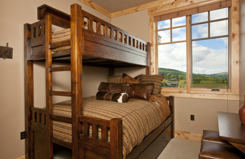 Vacation rental bedroom at Cabin and Company.