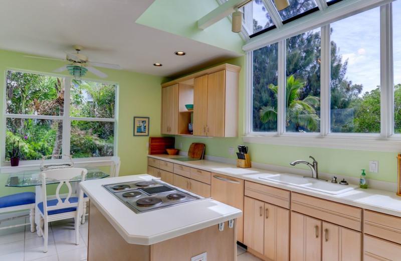 Rental kitchen at Sanibel Vacations.