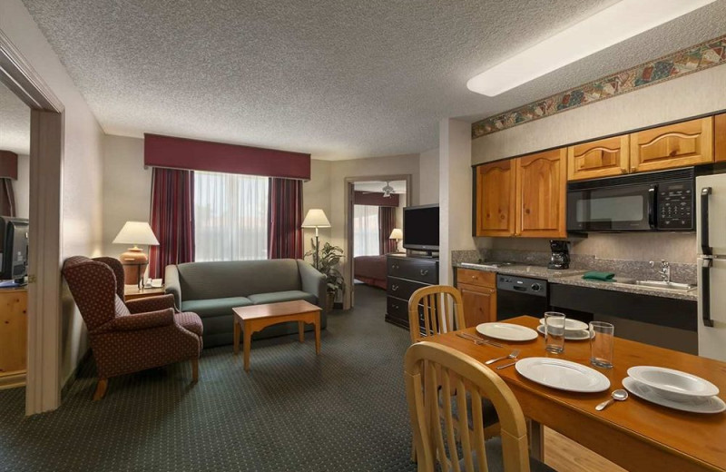 Guest room at Homewood Suites Phoenix-Scottsdale.