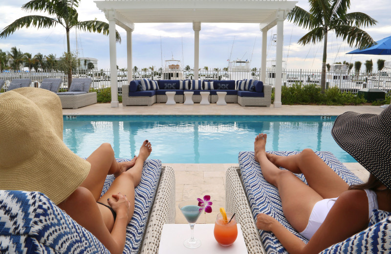 Relaxing by the pool at Oceans Edge Key West Resort & Marina.