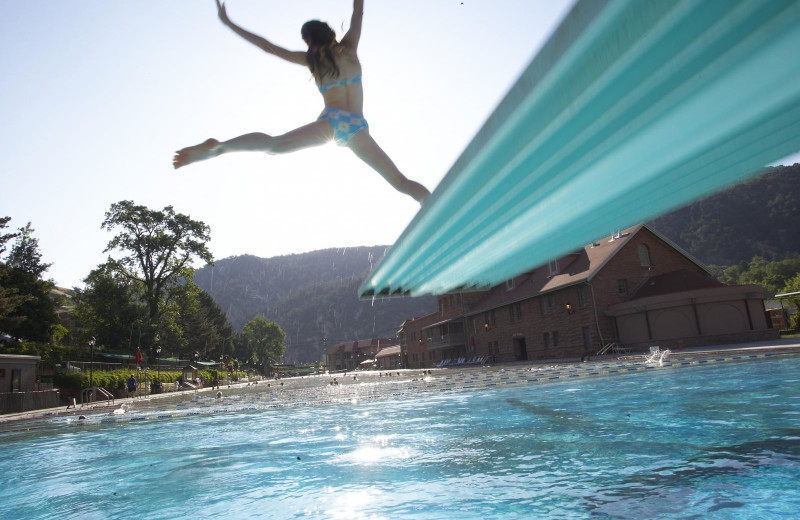 Jumping in pool at Glenwood Hot Springs Resort.
