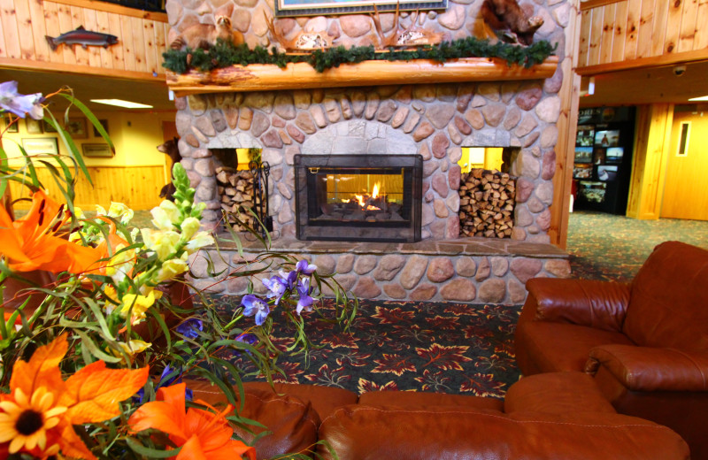 Lobby fireplace at Superior Shores Resort.