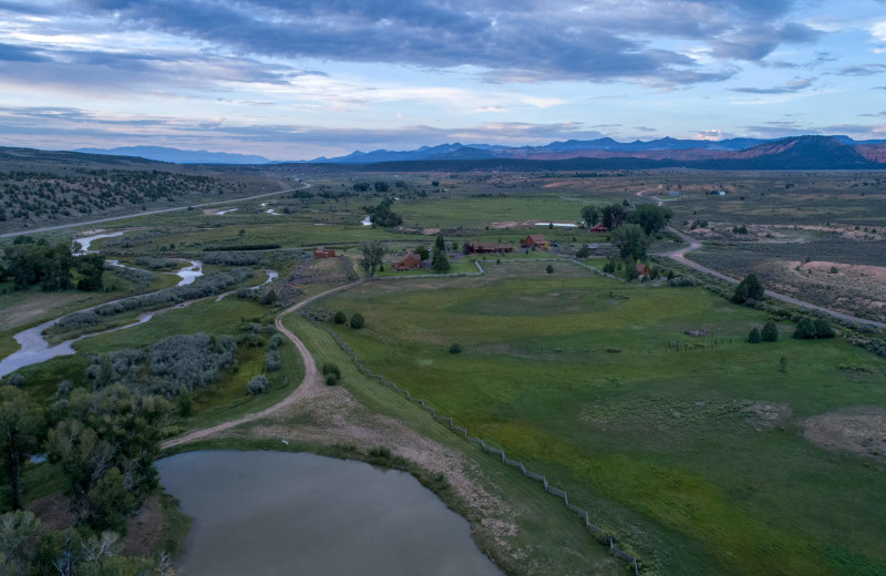 Aerial view of Cottonwood Meadow Lodge.