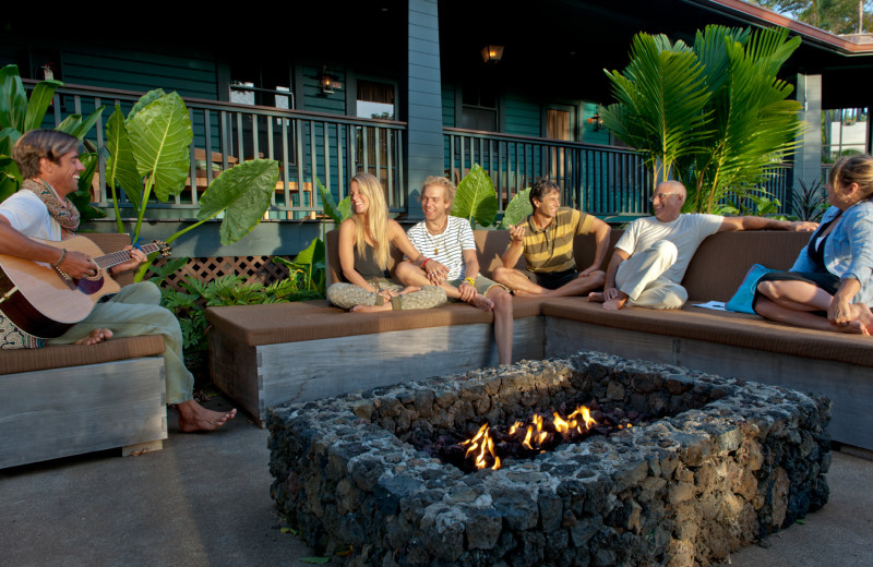 Outdoor fireplace patio at Lumeria Maui.