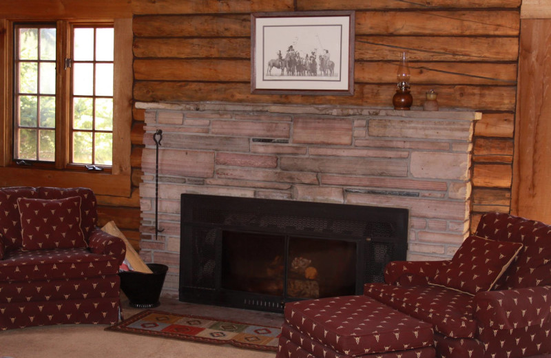 Fireplace at Paradise Guest Ranch.
