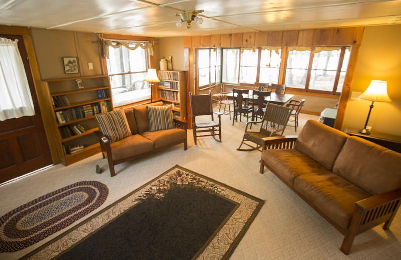 Cottage living room at Palmer Point Cottages.