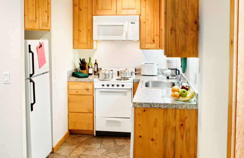 Kitchen of a One Bedroom Unit at the Red Wolf Lodge at Squaw Valley