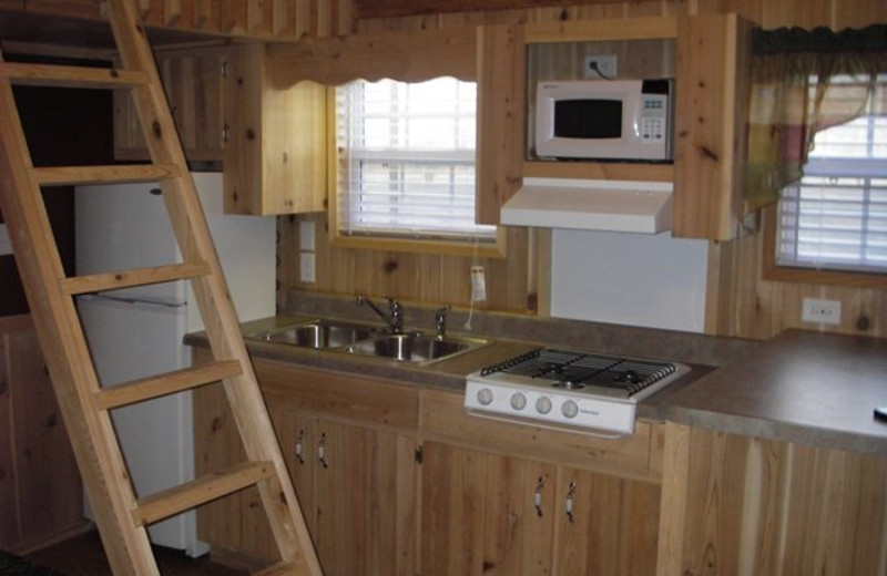 Cabin kitchen at Darien Lake Resort.