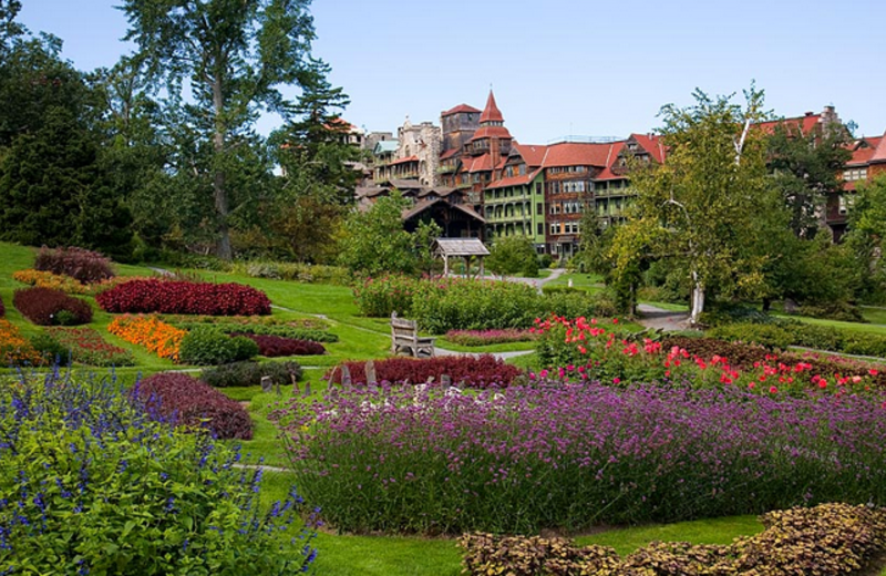 Mountain house through gardens at Mohonk Mountain House.