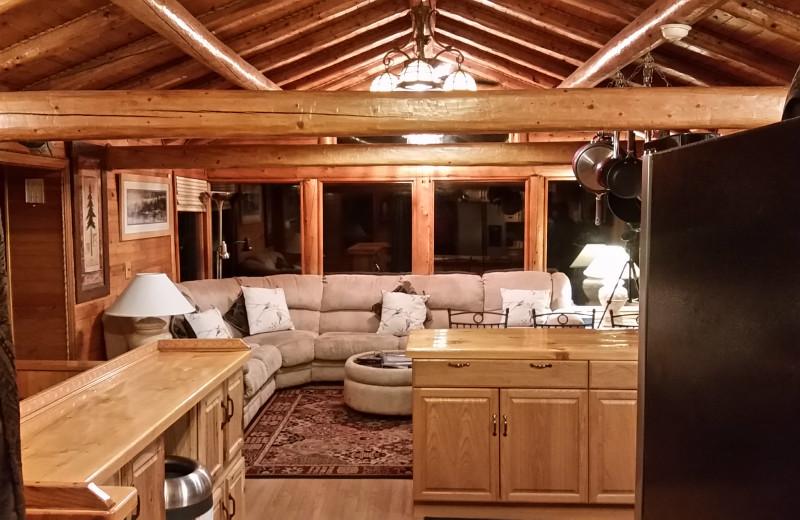 Guest living room at Kenai River Drifters Lodge.