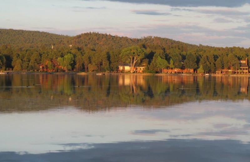The lake at Lazy Oaks Resort.