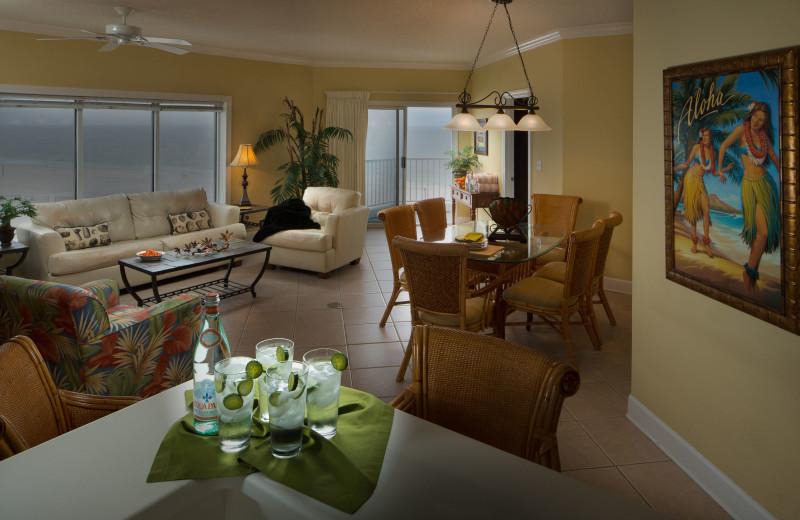 Guest living room at Palm Beach Resort Orange Beach.