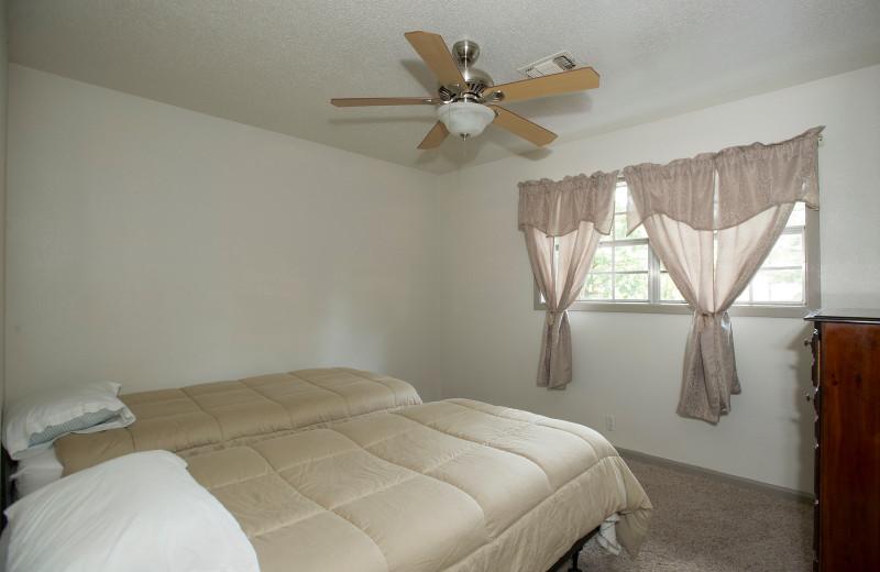 Cabin bedroom at Brady Mountain Resort & Marina.