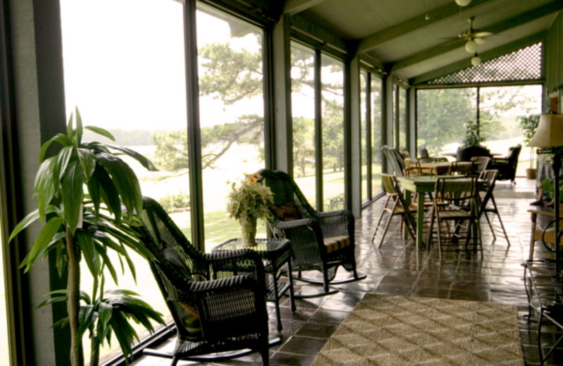 Guest porch at Mulberry Mountain Lodging & Events.