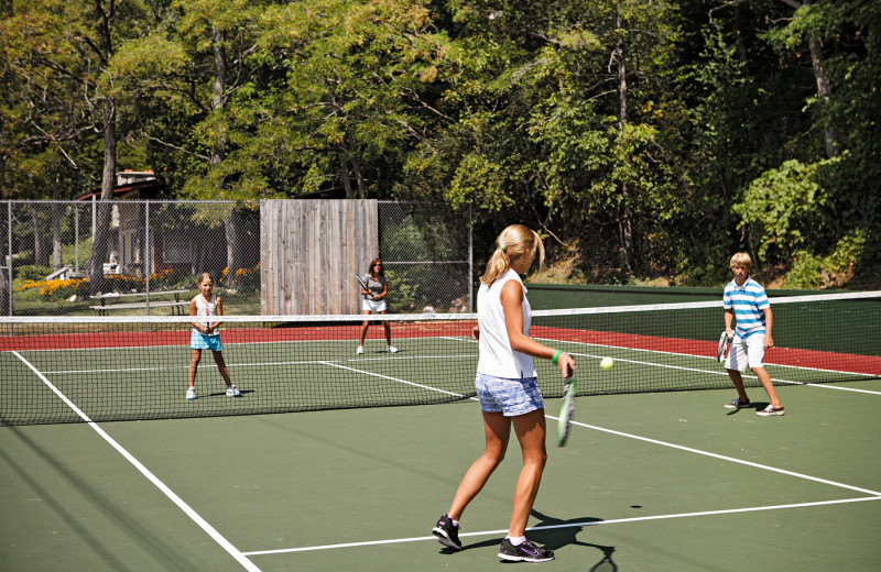 Tennis court at Chimney Corners Resort.