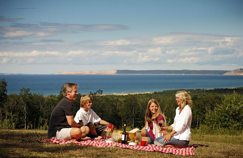 Family picnic at Chimney Corners Resort.