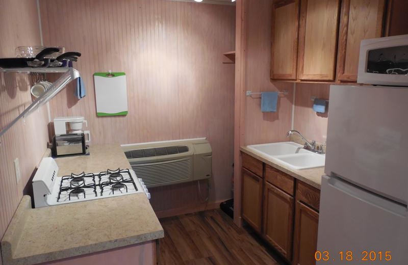 Suite kitchen at Black Hills Cabins & Motel at Quail's Crossing.