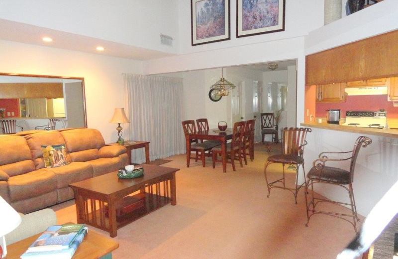 Rental living room at Village Villas Vacation Rentals.