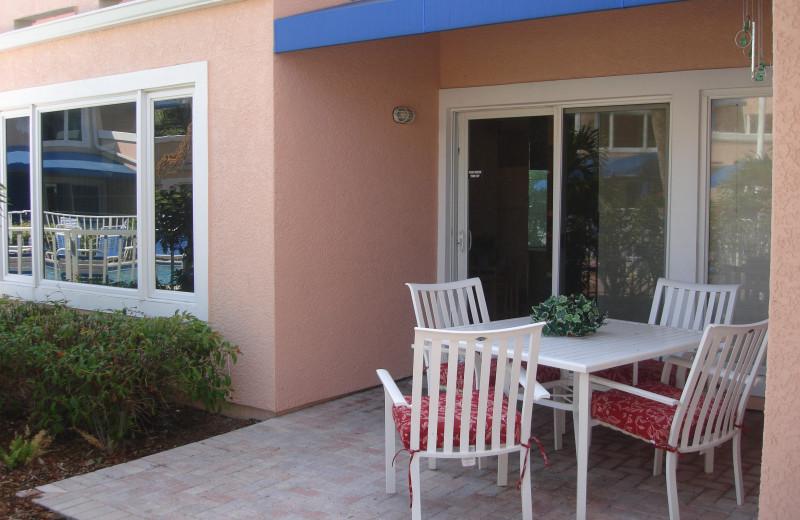 Vacation rental patio at Sand Cay Beach Resort.