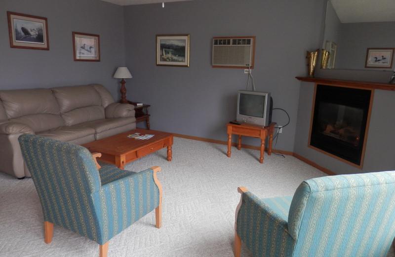 Cabin living room at Brophy Lake Resort.