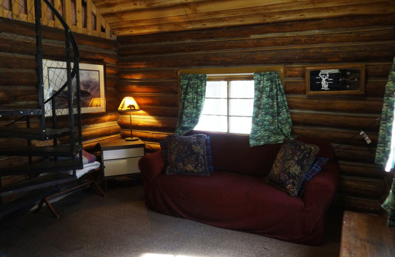Cabin living room at North Shore Lodge & Resort.