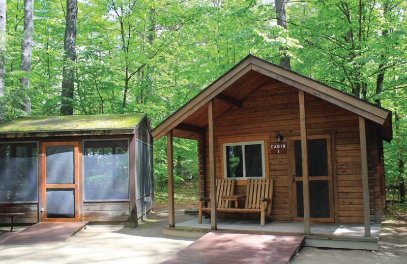 Cabin exterior at Mi-Te-Jo Campground.