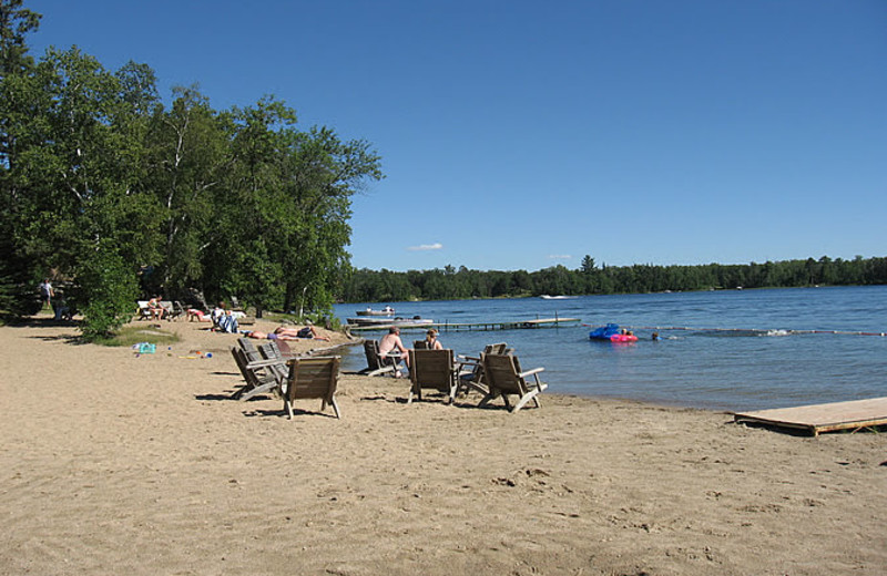 Little Norway features a large, 150ft sand beach to enjoy by all.  Features chairs, kayaks, canoe, paddle boards, paddle boats, and swim raft.  Just bring your own floaty!