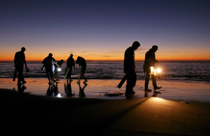Clam fishing at Oceanfront Getaways.