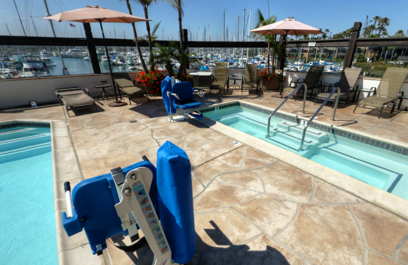 Handicapped assessable pool and hot tub at Bay Club Hotel & Marina.
