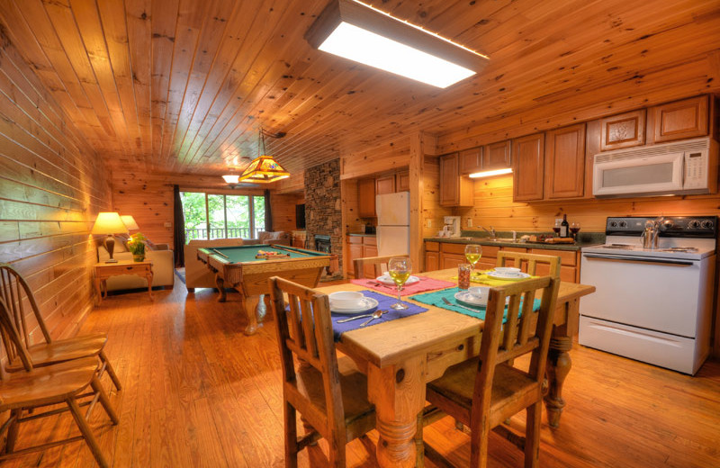 Cabin kitchen at Nantahala Village.