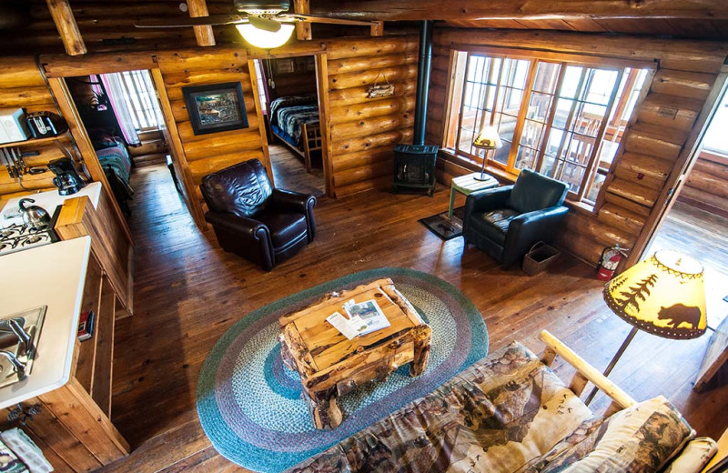 Cabin interior at Clearwater Historic Lodge & Canoe Outfitters.