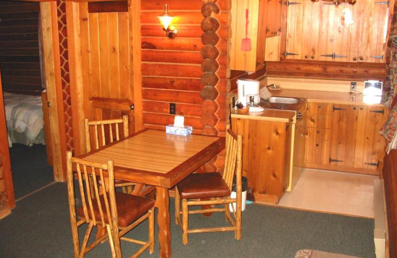 Cabin kitchen at Bakers Narrows Lodge.