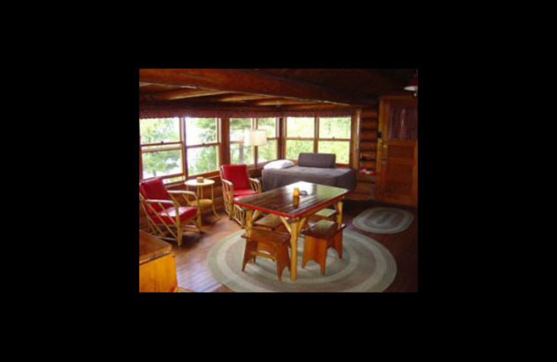 Cabin living room at Nelson's Resort.