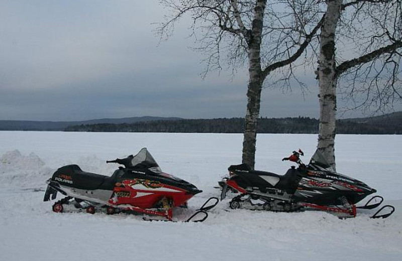 Snowmobiling at Bald Mountain Camps Resort.