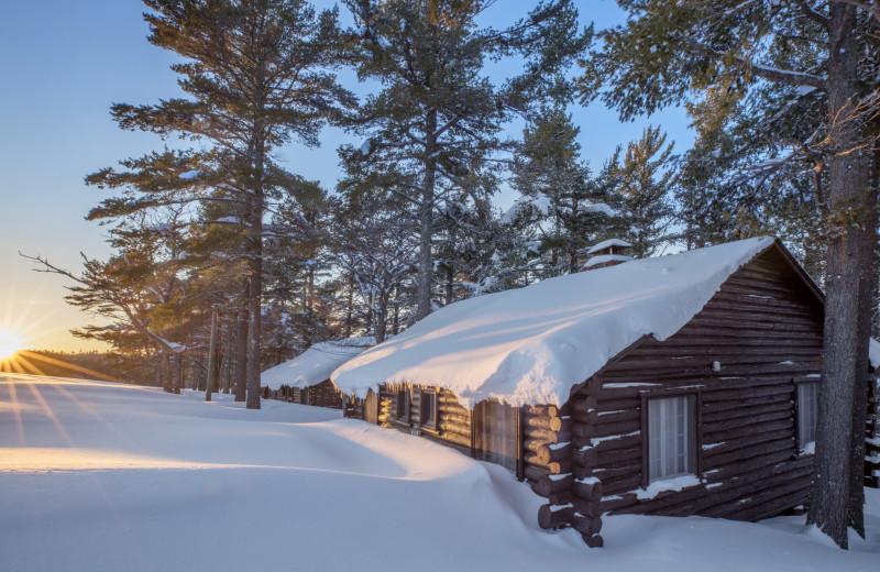 Winter cabins at Keweenaw Mountain Lodge.
