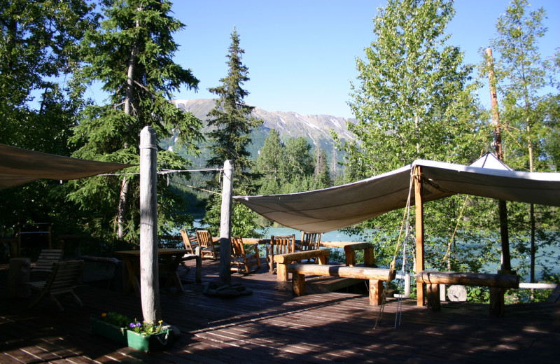 Patio at Kenai Riverside Lodge.