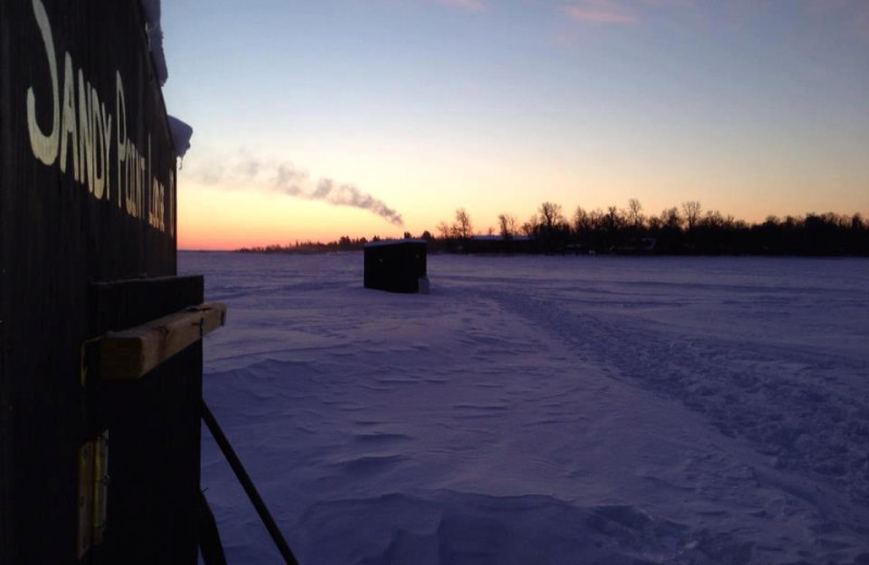 Ice fishing at Sandy Point Lodge.