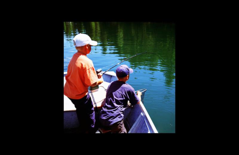 Fishing at Pine Lodge Cabins & Suites.