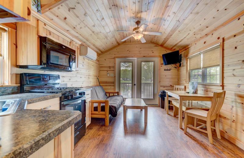 Cabin interior at Yogi Bear's Jellystone Park™ Camp-Resort in Gardiner, NY.