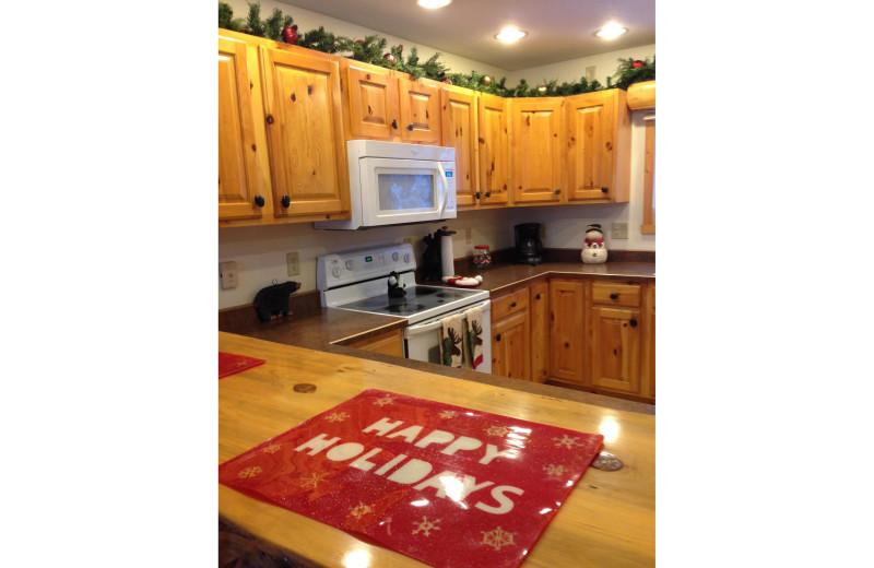 Cabin kitchen at Timber Trails Resort.