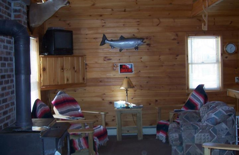 Cabin Living Area at  Fox Hollow Lodge