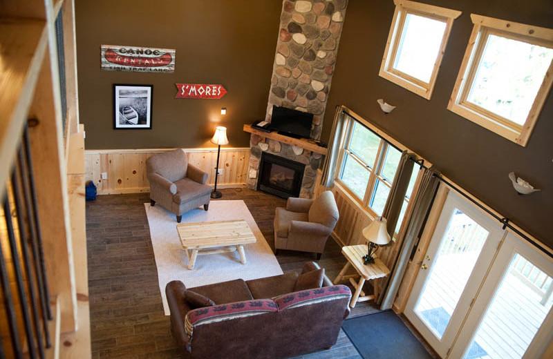 Cabin living room at Campfire Bay Resort.