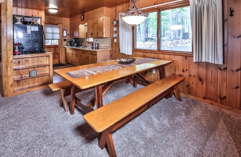 Cabin dining room at Serenity Bay Resort.