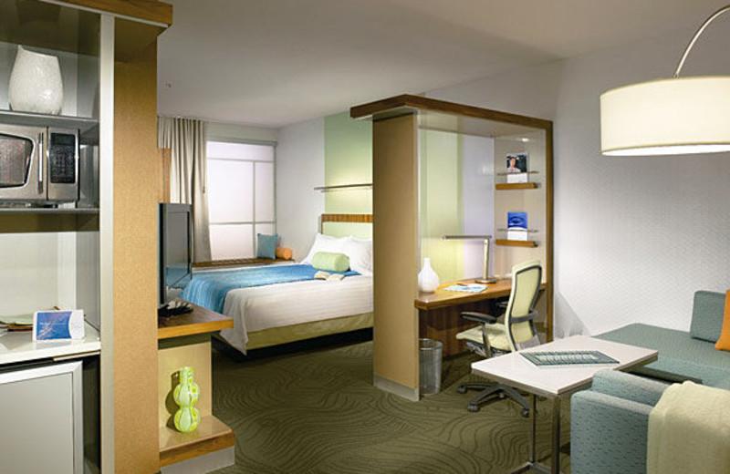 Guest suite at SpringHill Suites Detroit Southfield.