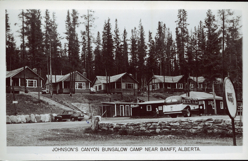 Historic photo of Johnston Canyon Resort.